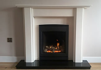 Yeoman gas fire CL530 with Imperial style fire surround in Spanish Limra limestone